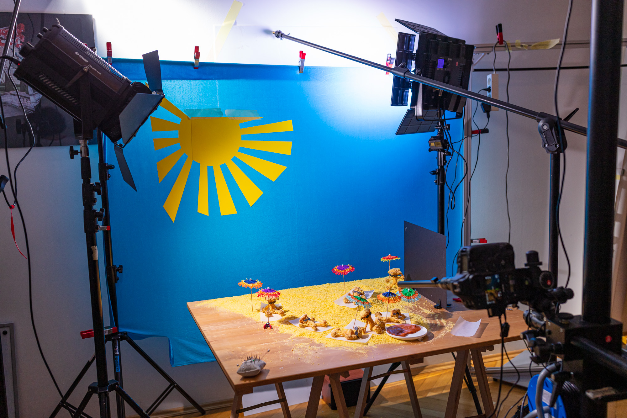 Behind the scenes of a food video production