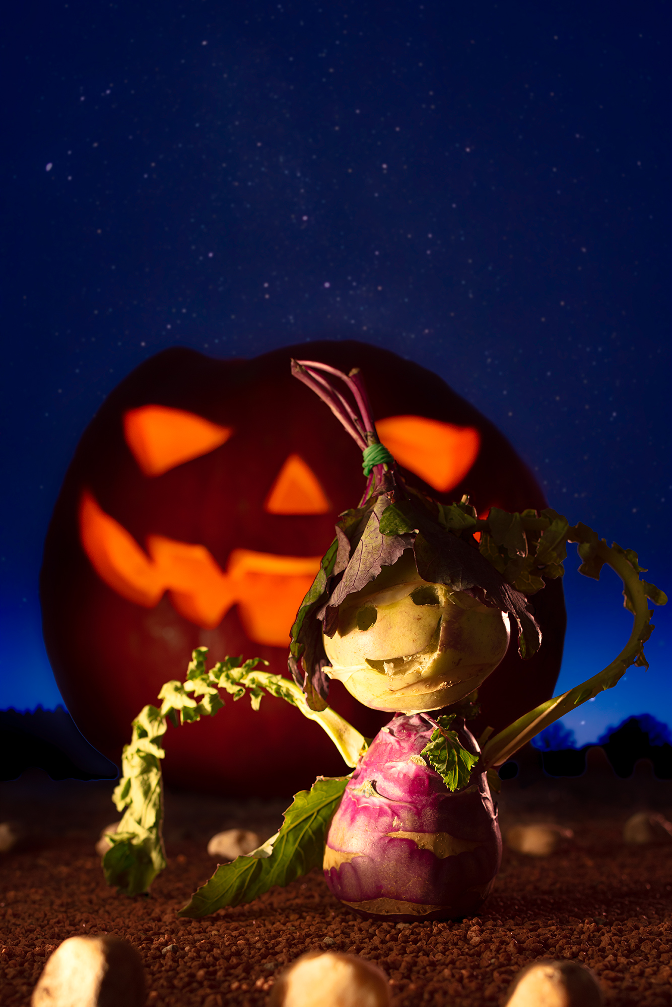 A figure made out of a turnip with a hat made out of leaves is shown in front of a lit pumpkin with carved out face.