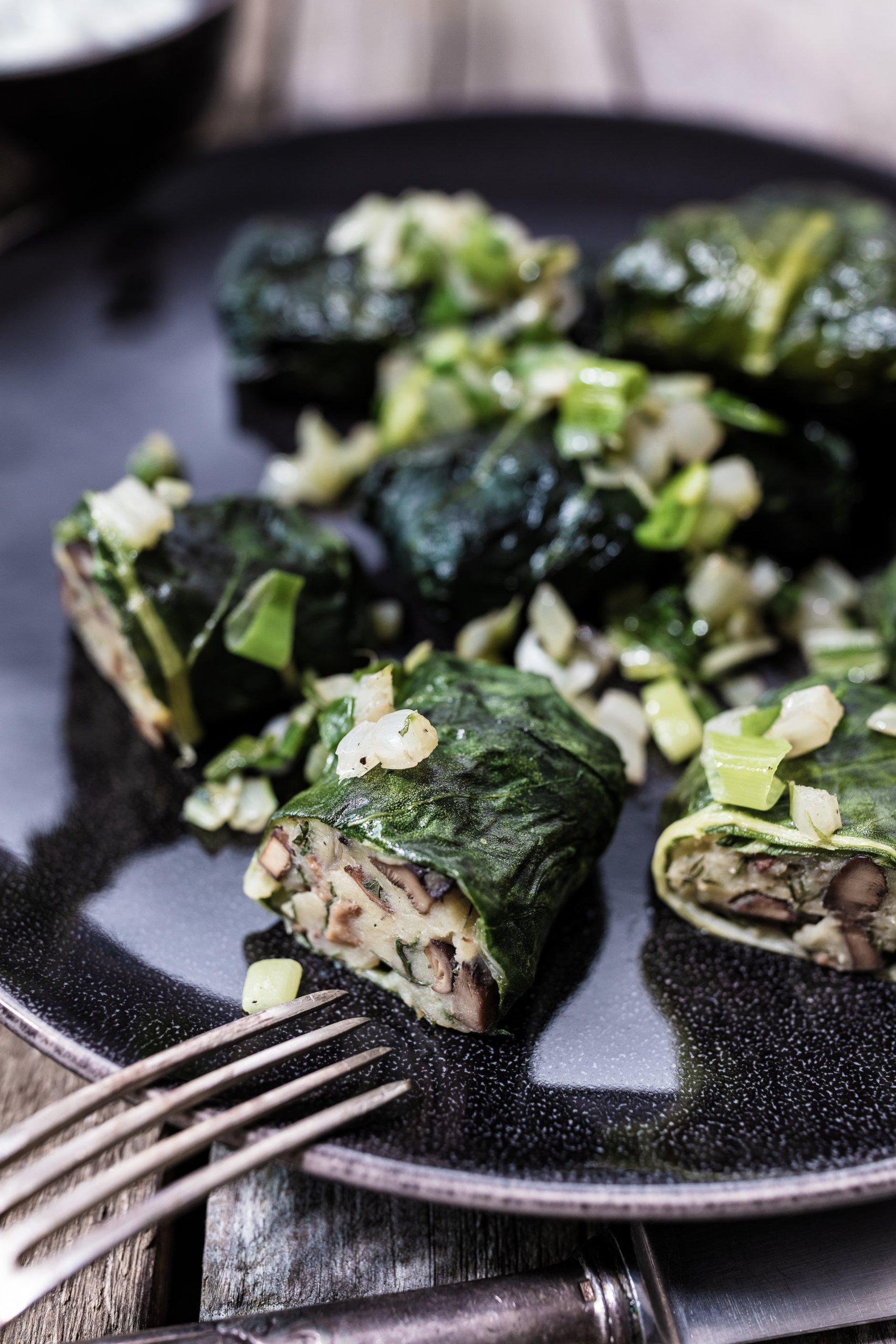 Vegan Chard wraps with mushroom and potato filling Foodlydoodlydoo.com