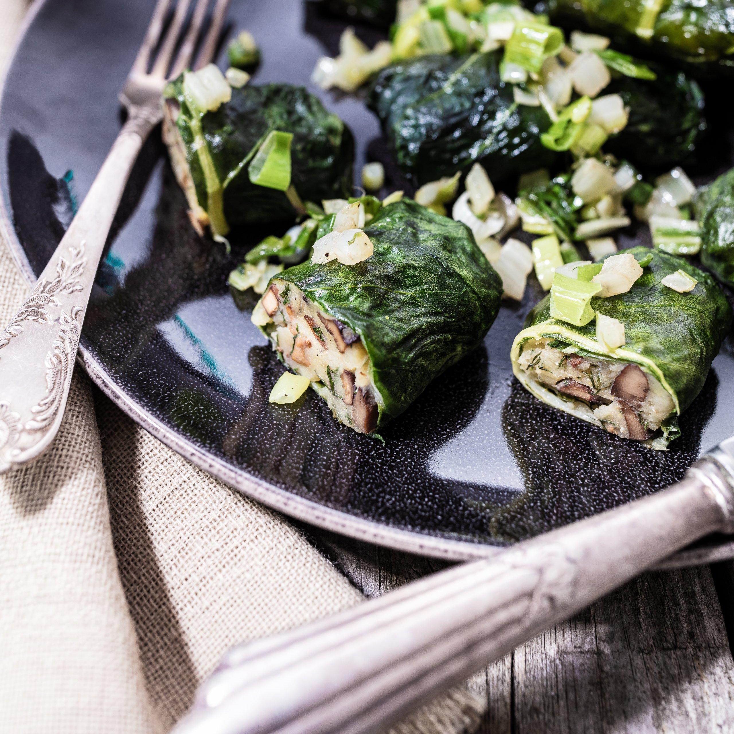Vegan Chard Wraps With Mushroom And Potato Filling