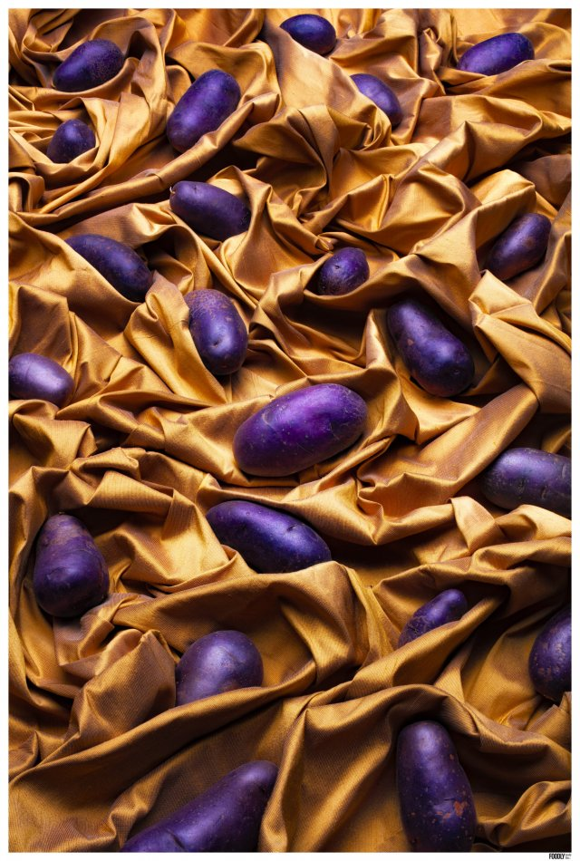 FOODLYDOODLYDOO_VIOLET POTATOS ON FABRIC_