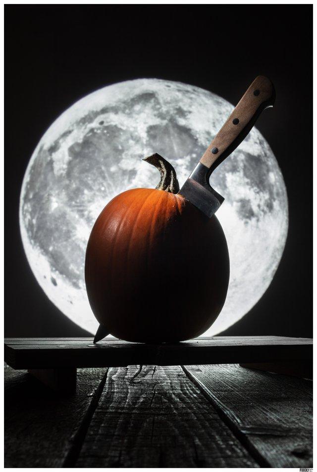 pumpkin and full moon