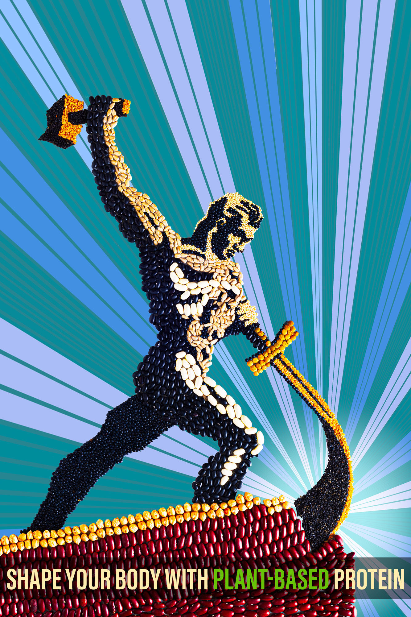 "Stylized Propaganda poster spelling ""Shape your body with plant-based protein"" in this version an athletic looking man is depicted holding a black smith`s hammer in his stretched out hand about to strike on a sword he holds with his other hand  Stylization is made out of legumes and seeds: Black lentils (Beluga), chickpeas, red beans, quinoa, green lentils, black beans, white beans, black sesame seeds, golden linseed, sunflower seeds."