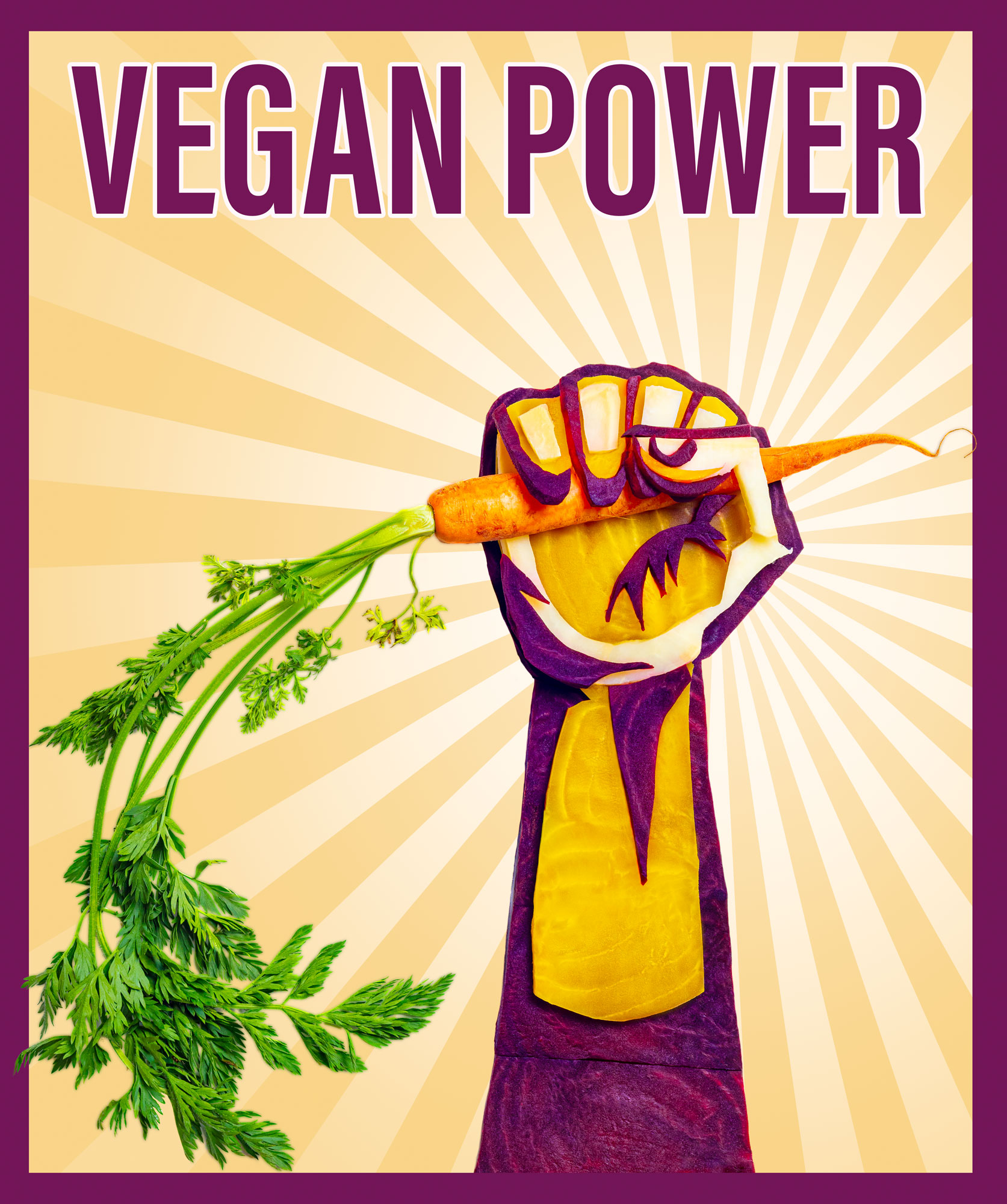 "Stylized Propaganda poster spelling ""Vegan Power"". A hand is stretched out and holding a carrot in the fist.   The stylization made out of carved out vegetables: Red and yellow Beetroot and parsley root"