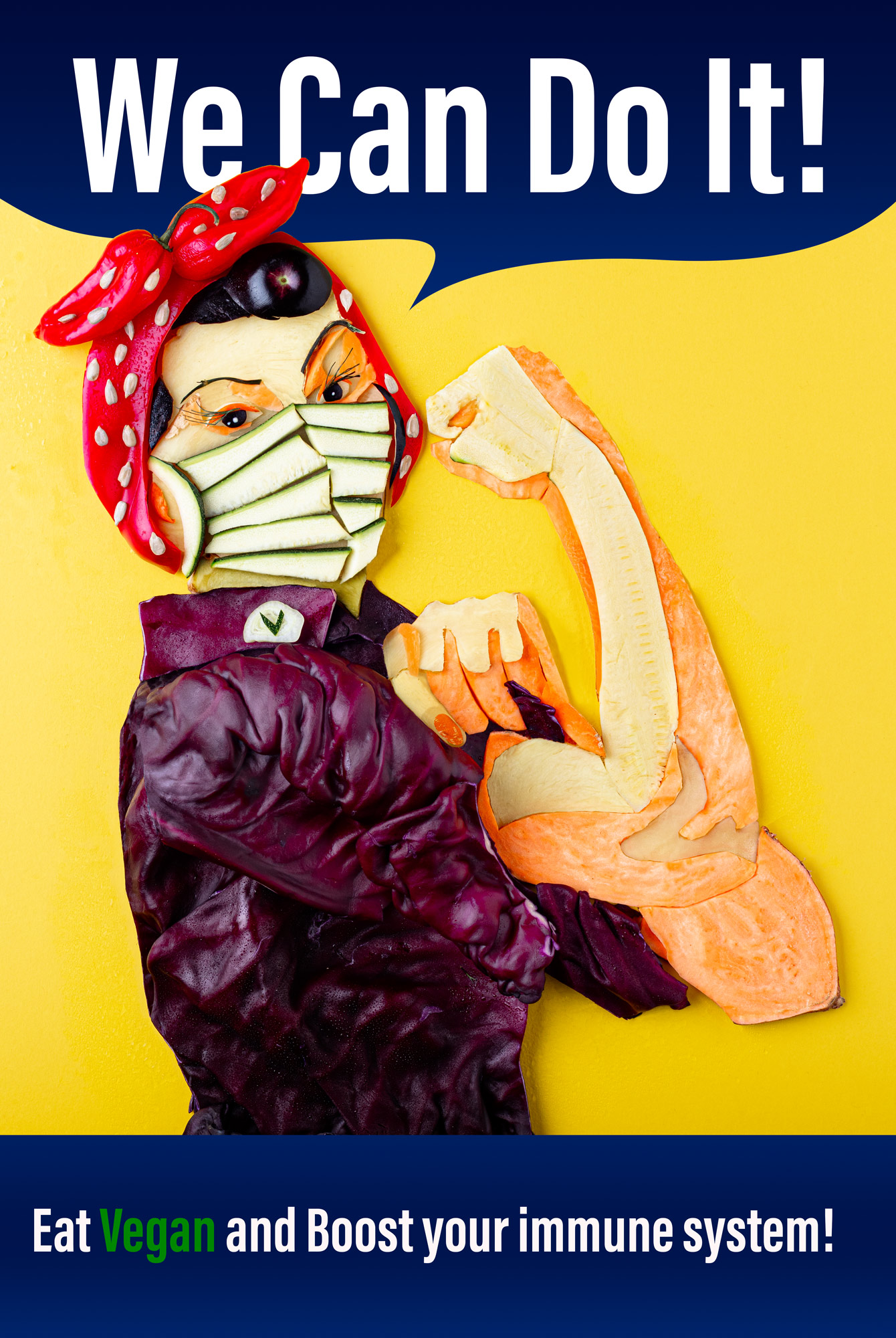 "Stylized Propaganda poster from the second world war ""We can do it"" and ""Eat Vegan and boost your immune system"" in this version a woman is wearing a face mask and red scarf rolls up her sleeve and flexes her biceps. Stylization made out of vegetables: Sweet potatoes, red cabbage, bell pepper and aubergine."